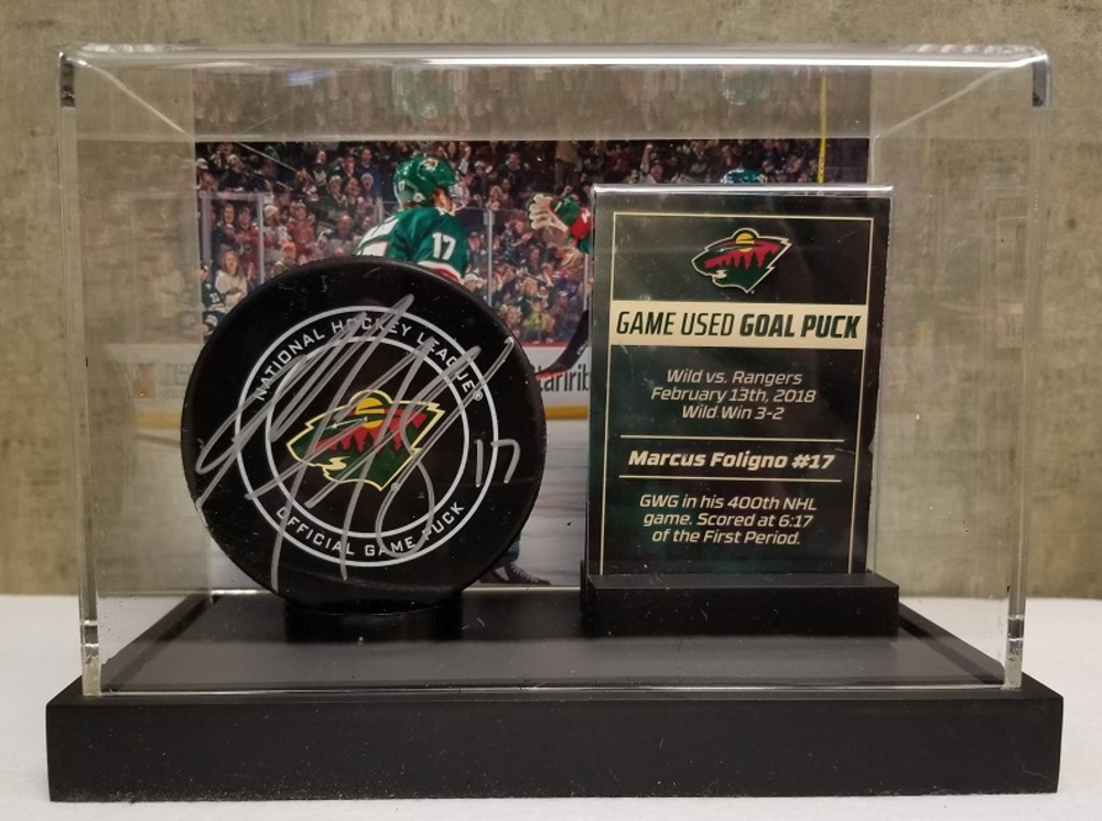 Wild Game Used Goal Puck- Foligno GWG in 400th NHL Game