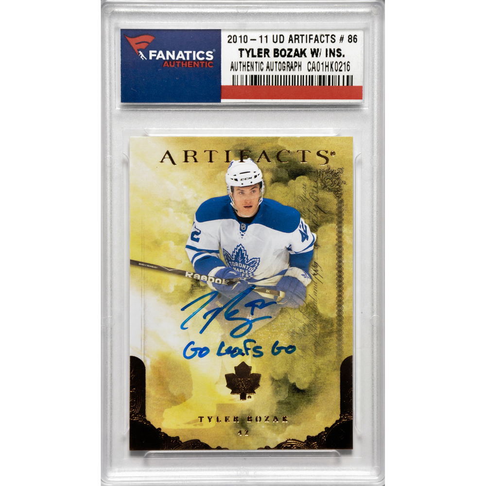 Tyler Bozak Toronto Maple Leafs Autographed 2010-11 Upper Deck Artifacts #86 Card with Go Leafs Go Inscription