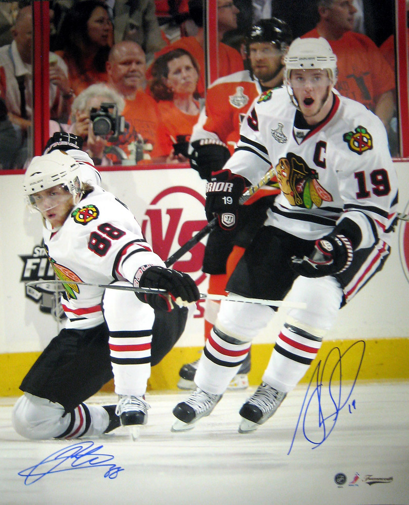 Jonathan Toews / Patrick Kane Dual Signed 16x20 Unframed Blackhawks White Goal Celebration