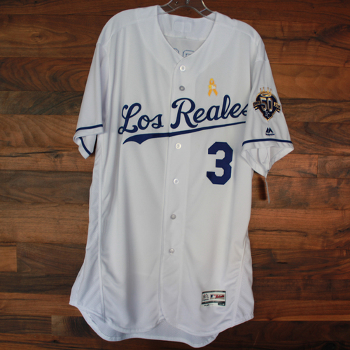 Photo of Game-Used Los Reales Jersey: Ned Yost (Size 48 - BAL @ KC - 9/1/18)