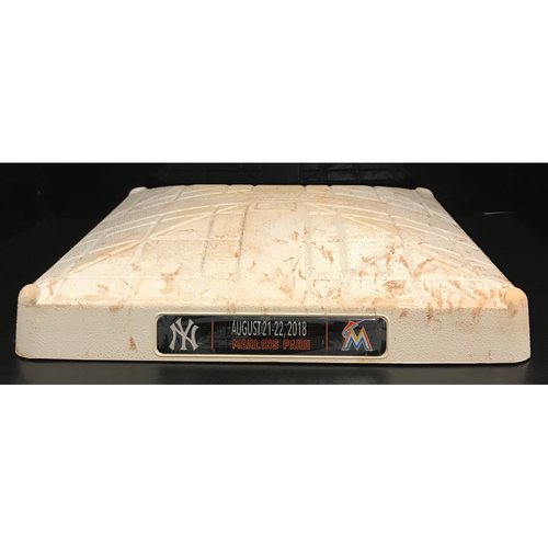Photo of Game-Used Base: Miami Marlins vs New York Yankees (August 21, 2018) (3rd Base, 7th-12th inn.)