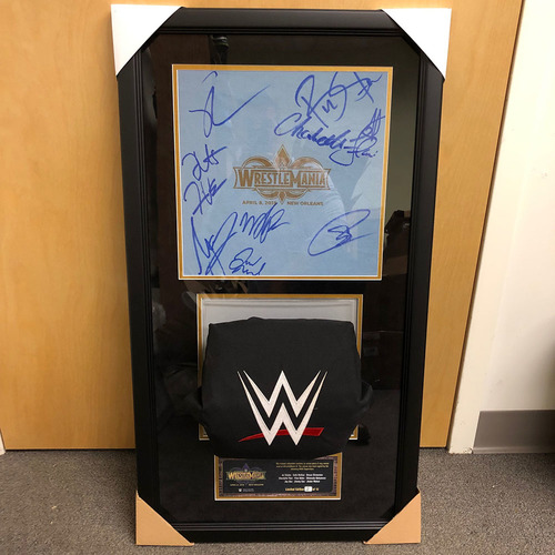 Photo of WrestleMania 34 SIGNED Used Ring Canvas & Used Turnbuckle Commemorative Plaque (#4 of 12)