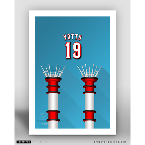 Photo of Minimalist Great American Ball Park Joey Votto Player Series Art Print by S. Preston - Limited Edition