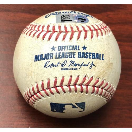 Game Used Baseball: Cody Bellinger ground out and Kike Hernandez at-bat against Adam Kolarek - May 21, 2019 v LAD