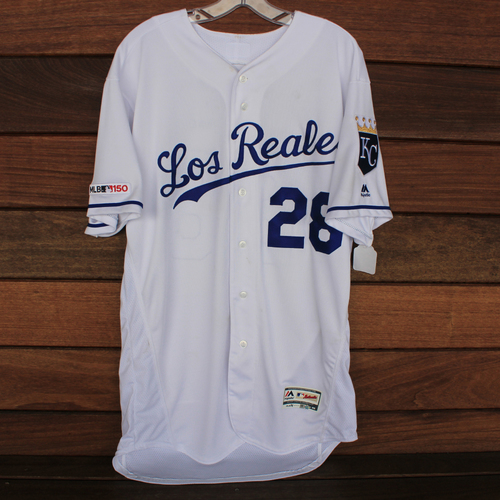 Photo of Game-Used Los Reales Jersey: Jorge Lopez (Size 46 - MIN @ KC - 6/21/19)