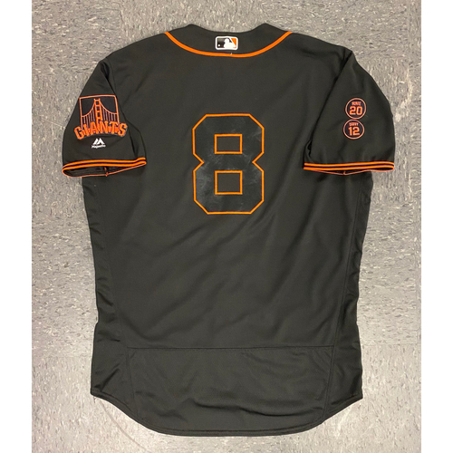 Photo of 2016 Game Used Jersey - Black Home Alternate Jersey - worn by #8 Hunter Pence - authenticated on 8/13 vs BAL & 8/27 vs ATL - Size 48