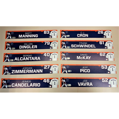 Photo of Detroit Tigers 2020 Comerica Park Clubhouse Locker Name Plate Set 6: Featuring Matt Manning, Dillon Dingler, Sergio Alcantara, Jordan Zimmermann, C.J. Cron, Jeimer Candelario & more! (MLB AUTHENTICATED)