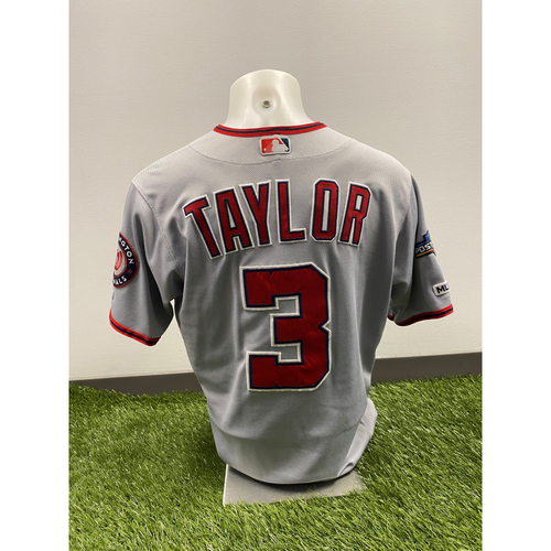 Photo of Michael A. Taylor Game-Used 2019 Grey Jersey with Postseason Patch