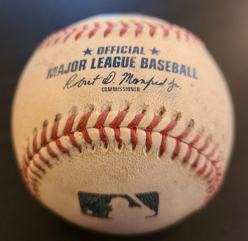 Photo of Authenticated Game Used Baseball: Double by D.J. LeMahieu against Jordan Romano (Apr 13, 2021 vs NYY). Top 8. Game played in Dunedin, FL.