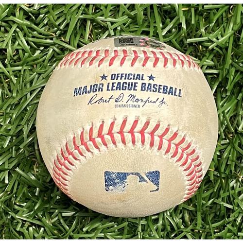 Photo of Game Used Baseball: Leody Taveras single off Diego Castillo - Leody Taveras Rookie Season - Top 9 - April 12, 2021 v TEX