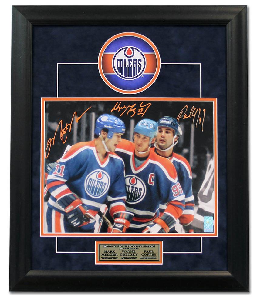 Mark Messier, Wayne Gretzky & Paul Coffey Edmonton Oilers Signed 23x19 Frame