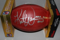 HOF - RAMS KURT WARNER SIGNED AUTHENTIC FOOTBALL/ 99 AND 01 MVP INSCRIPTION