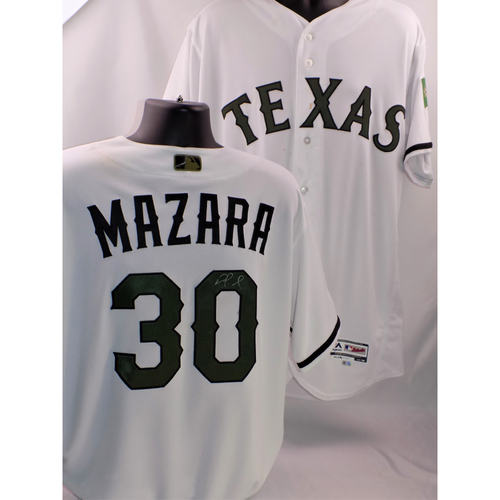Photo of 2017 Nomar Mazara Autographed, Game-Used Memorial Day Jersey
