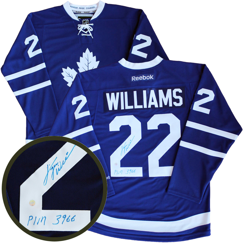 Tiger Williams - Signed Jersey Toronto Maple Leafs Reebok Replica Blue