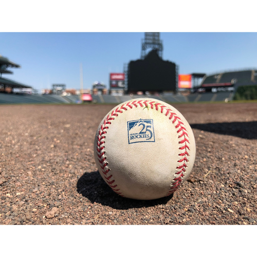 Photo of Colorado Rockies Game-Used Baseball - Marquez v. Shuck - Single to Cuevas - June 24, 2018
