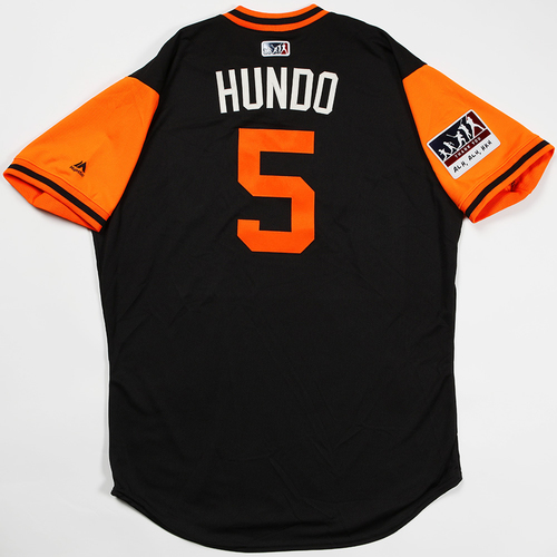 "Photo of Nick ""Hundo"" Hundley San Francisco Giants Game-Used 2018 Players' Weekend Jersey"