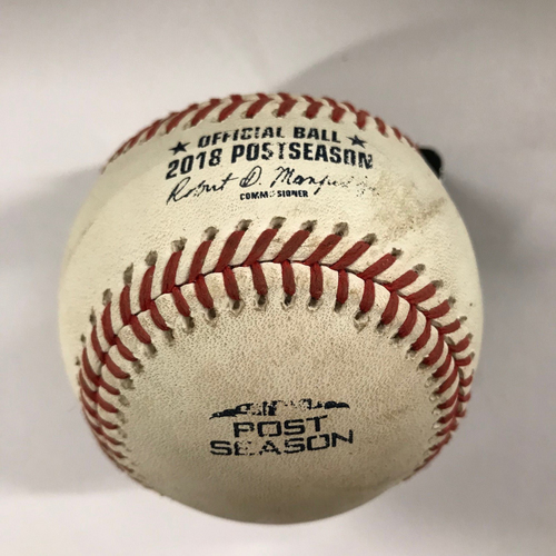 Photo of Yasiel Puig Game-Used Hit Single Baseball - NLDS Game 4, 10/8/18