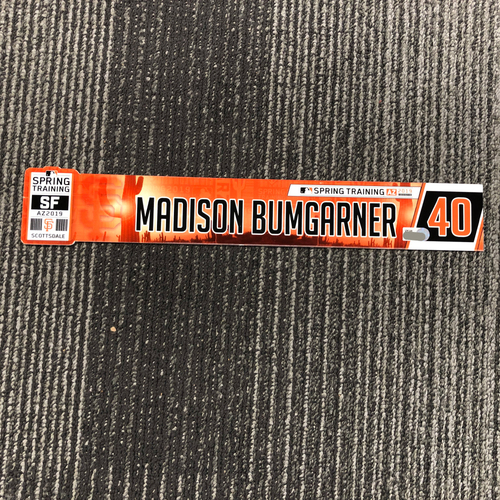 Photo of 2019 Spring Training Game-Used Locker Tag - #40 Madison Bumgarner