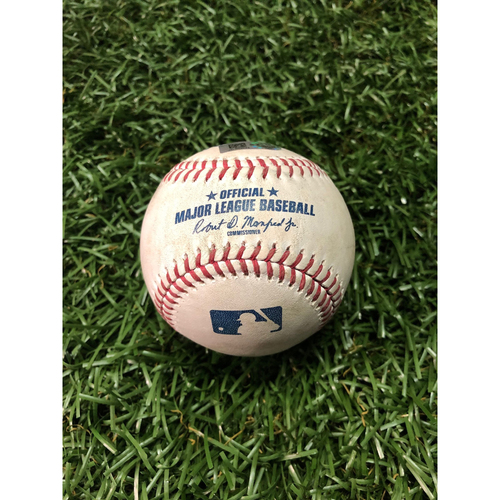 Photo of Game Used Baseball: Marwin Gonzalez RBI double and Eddie Rosario foul ball off Yonny Chirinos - June 1, 2019 v MIN