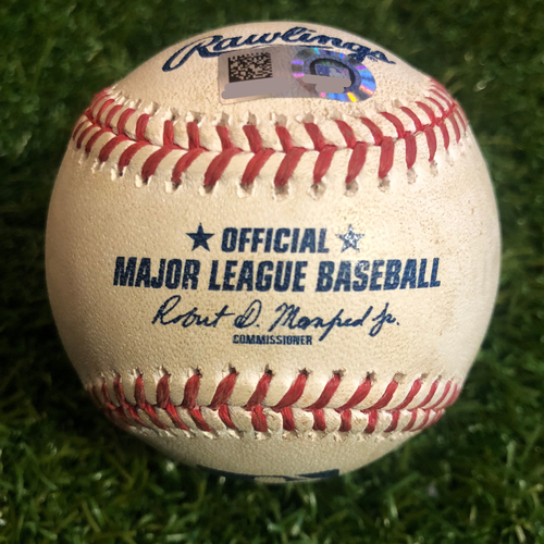 Photo of Game-Used Baseball: Pete Alonso 25th Career Double and 94th Career RBI (NYM @ KC - 8/18/19 - NL Rookie Home Run Record Game)