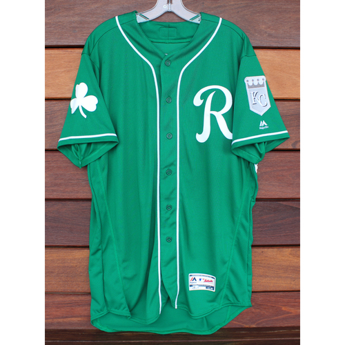 Photo of Game-Used St. Patrick's Day Jersey: Brian Goodwin (Size 48 - 3/17/19 - KC @ SF)