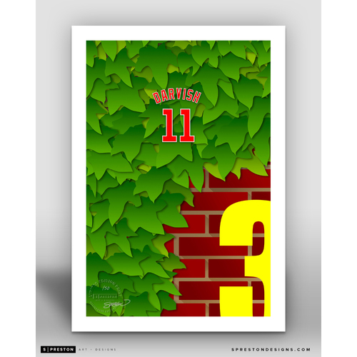 Photo of Minimalist Wrigley Field Yu Darvish Player Series Art Print by S. Preston - Limited Edition