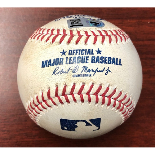 Photo of Game Used Baseball: Cody Bellinger ground out and Corey Seager hit by pitch against Adam Kolarek - May 22, 2019 v LAD