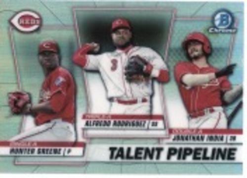 Photo of 2020 Bowman Chrome Talent Pipeline #TPCIN Jonathan India/Hunter Greene/Alfredo Rodriguez