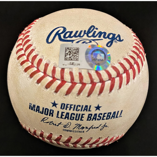 Photo of Game-Used Baseball:  Orlando Arcia Milwaukee Brewers Double (MLB AUTHENTICATED)