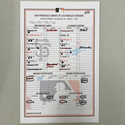 Photo of 2020 Game Used Lineup Card used on 8/7 vs.  Los Angeles Dodgers - Jeff Samardzija vs. Julio Urias - Dodgers Win 7-2 - Mookie Betts, Max Muncy, Will Smith & Edwin Rios Hit Home Runs - Dylan Floro Gets Win #1 of 2020