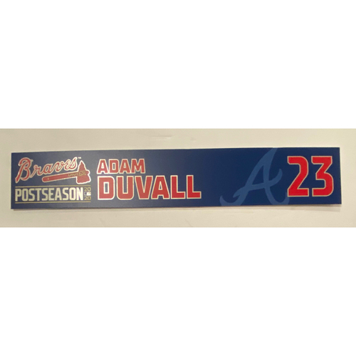 Photo of Adam Duvall Game-Used 2020 Postseason Locker Nameplate - September 30, 2020 - Wild Card Game 1