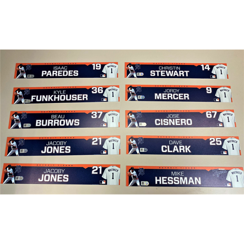Photo of Detroit Tigers 2020 Comerica Park Clubhouse Locker Name Plate Set 7: Featuring Isaac Paredes, JaCoby Jones, Beau Burrows, Kyle Funkhouser, Christin Stewart & more! (MLB AUTHENTICATED)