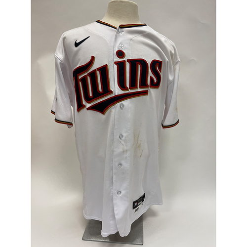 Photo of Minnesota Twins: 2021 Game-Used Jersey - Home White Nelson Cruz jersey worn on 6/21/2021 - 1 for 5 with a solo homerun and on 6/27/2021 - 1 for 4 with a 3 run Homerun.