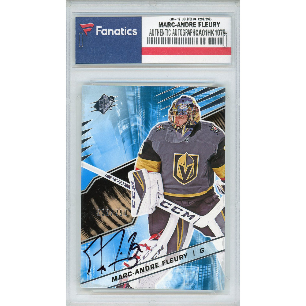 Marc-Andre Fleury Vegas Golden Knights Autographed 2018-19 Upper Deck SPx #4 Card - #232 of a Limited Edition of 299