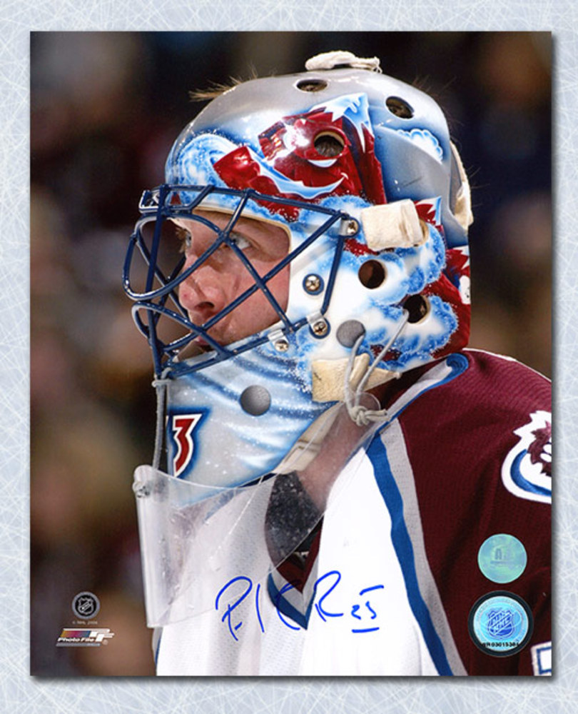 Patrick Roy Colorado Avalanche Autographed Goalie Mask Close Up 8x10 Photo