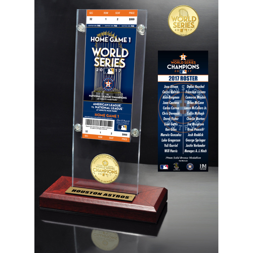 Photo of Houston Astros 2017 World Series Champions Ticket & Bronze Coin Acrylic Desk Top