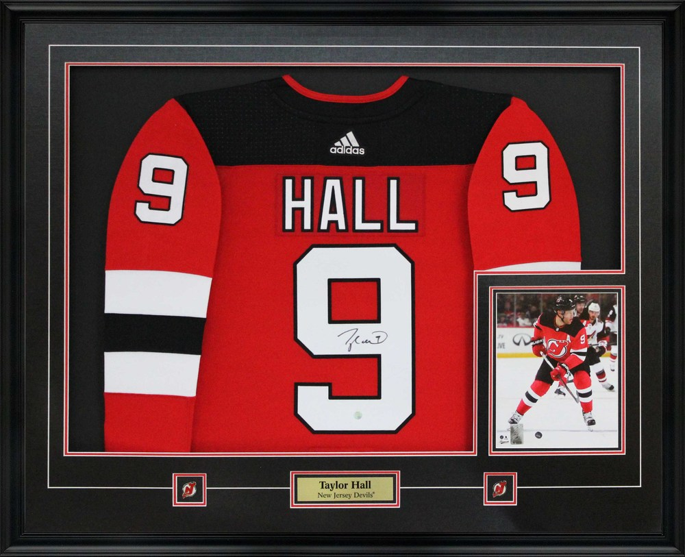 Taylor Hall - Signed Jersey Framed With 8x10 Devils Pro Red 17-18