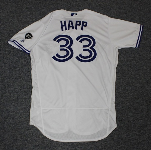 Photo of Authenticated Game Used Jersey - #33 J.A. Happ (July 23, 2018). Size 46.