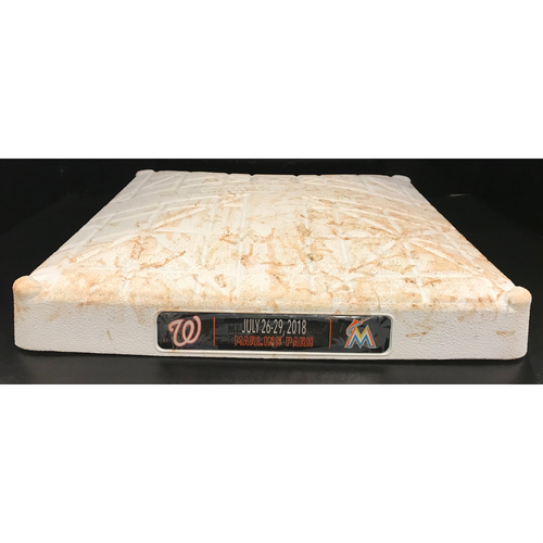 Photo of Game-Used Base: Miami Marlins vs Washington Nationals (July 27, 2018) (1st Base, 1-3rd inn.) *Max Scherzer recorded his 7th consecutive 200+ strikeout season*