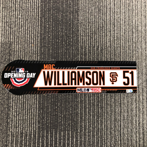Photo of 2019 Opening Day Team-Issued Locker Tag - #51 Mac Williamson