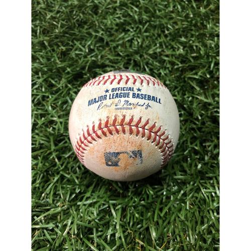 Photo of Game Used Baseball: Matt Olson strike out and Khris Davis foul ball off Charlie Morton - June 10, 2019 v OAK