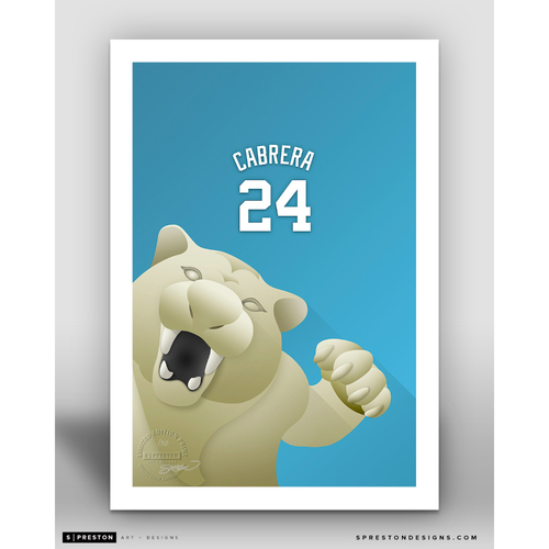Photo of Minimalist Comerica Park Miguel Cabrera Player Series Art Print by S. Preston - Limited Edition