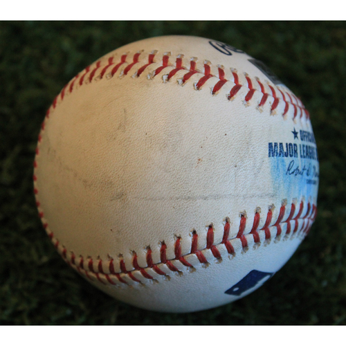 Photo of Game-Used Baseball: J.A. Happ Pitched Strikeout to Adalberto Mondesi (5/25/19 - NYY @ KC)