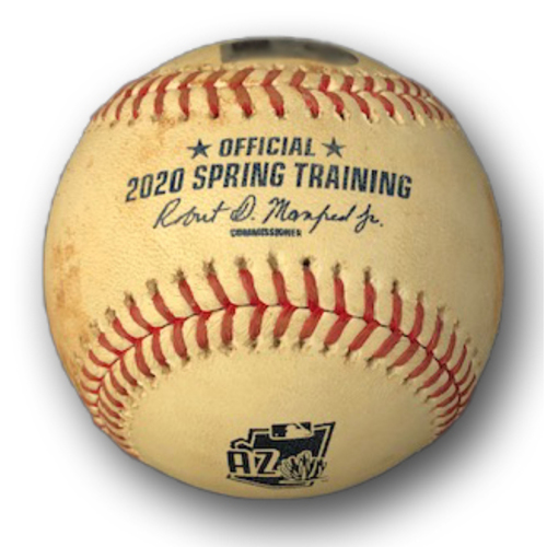 Photo of Game-Used Baseball -- Cubs Spring Training 2020 -- Games Played at Sloan Park