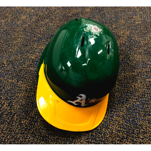 Photo of 2020 Game-Used Tony Kemp Left-Handed Kelly Green Helmet