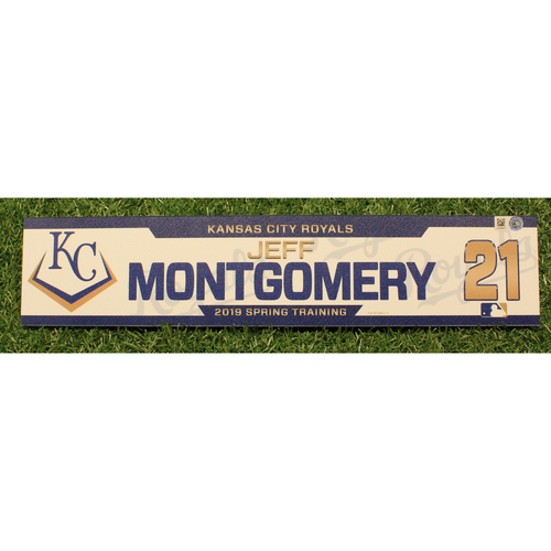 Photo of Team-Issued 2019 Spring Training Locker Tag: Jeff Montgomery #21