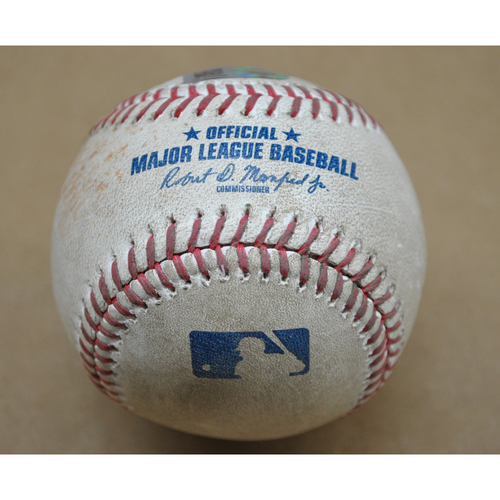 Photo of Game-Used Baseball - MIL at PIT - 8/21/2020 - Pitcher: Chad Kuhl, Batter - Ben Gamel, Top 4, Single