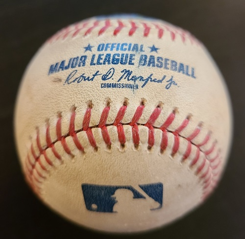 Photo of Authenticated Game Used Baseball: Single by Bo Bichette against Corey Kluber (Apr 14, 2021 vs NYY). Bottom 1. Game played in Dunedin, FL.