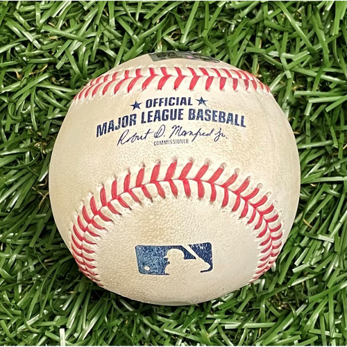 Photo of Game Used Baseball: Nick Solak 3RBI double off Ryan Yarbrough - Jose Trevino, Nate Lowe & Adolis Garcia Score - Adolis Garcia Rookie Season - Top 4 - April 13, 2021 v TEX