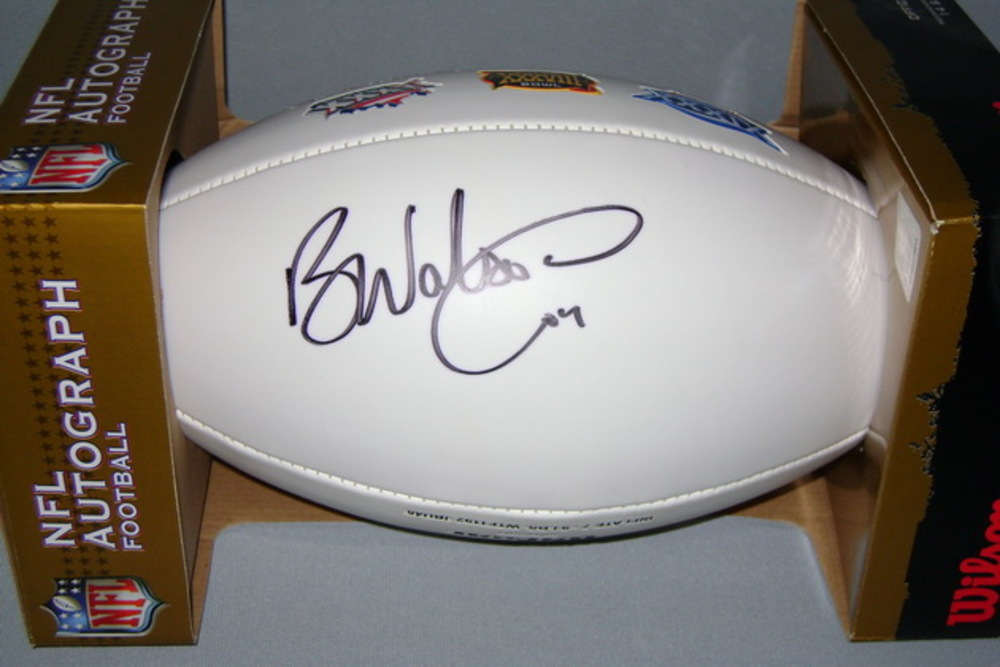 PATRIOTS - BEN WATSON SIGNED PANEL BALL W/ PATRIOTS 3 TIME CHAMPIONS LOGO